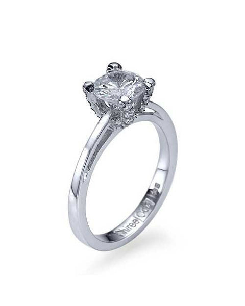 Engagement Rings Platinum Cathedral Pave Set 4-Prong Engagement Ring - 1ct Diamond