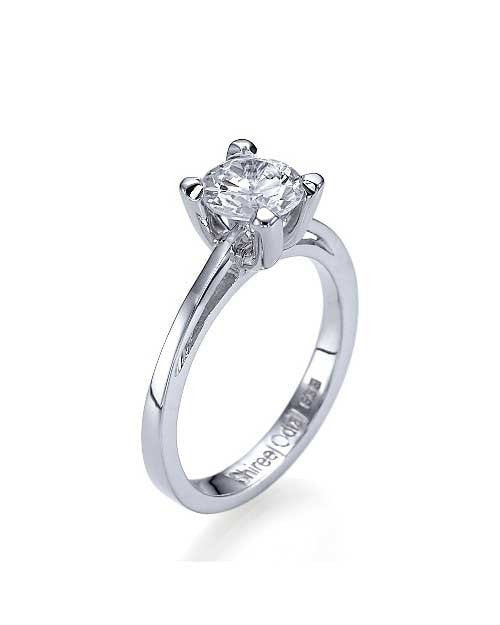 Engagement Rings Platinum Cathedral Round 4-Prong Mount Diamond Ring