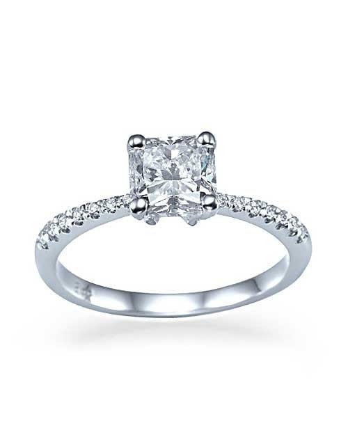 ... Engagement Rings Platinum Classic Engagement Rings   Princess Cut Pave  Set Semi Mount Settings