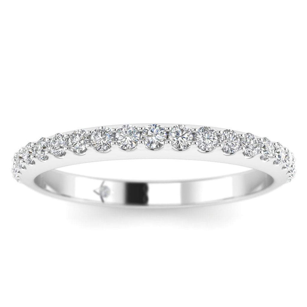 Platinum Classic French Pave Thin Diamond Eternity Band Ring - Custom Made