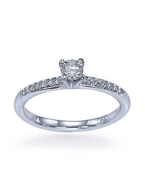 Platinum Classic Thin 4-Prong Engagement Ring - 0.2ct Diamond - Custom Made