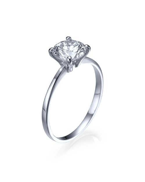 Engagement Rings Platinum Classic Thin 4-Prong Round Engagement Ring - 1ct Diamond