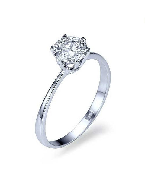Engagement Rings Platinum Classic Thin 6-Prong Classic Diamond Rings - 1ct Diamond