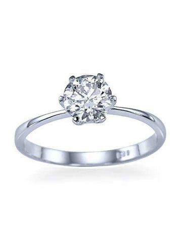 Engagement Rings Platinum Classic Thin 6-Prong Round Diamond Semi Mount Setting