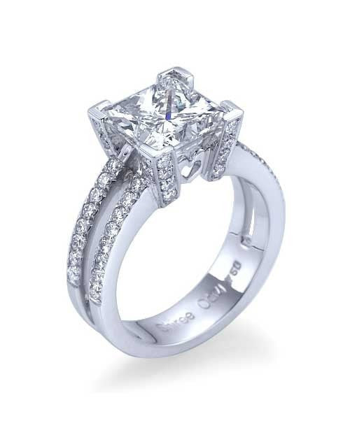 Engagement Rings Platinum Designer Double-Shank Princess Cut Semi Mount Engagement Rings