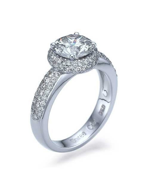 Engagement Rings Platinum Double Halo Round Cut Engagement Ring - 1.5ct Diamond