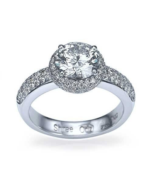 Platinum Double Halo Round Cut Engagement Ring - 1.5ct Diamond - Custom Made