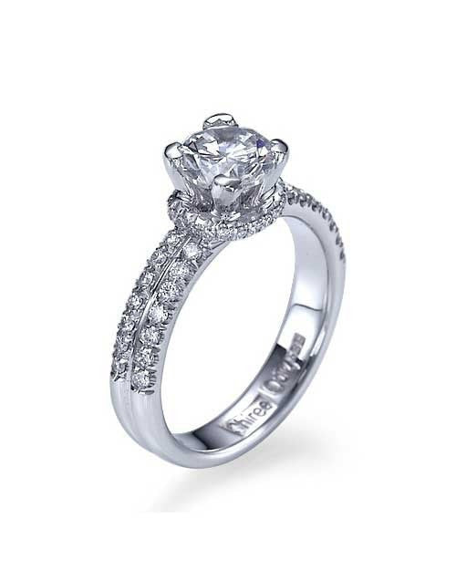 Engagement Rings Platinum Double-Shank Pave Set Engagement Ring - 0.75ct Diamond