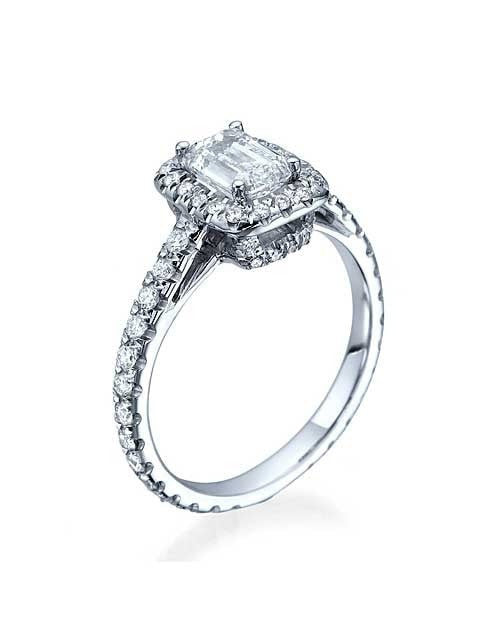 Engagement Rings Platinum Emerald Cut Halo Scalloped Semi Mount Engagement Ring