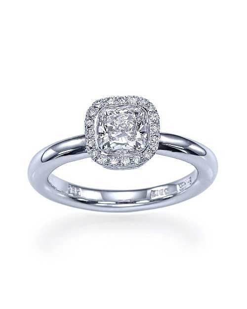 Platinum Halo Cushion Cut Engagement Ring - 1ct Diamond - Custom Made