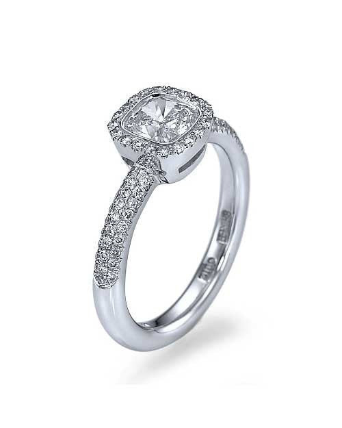 Platinum Halo Cushion Cut Pave Set Engagement Ring Settings Only