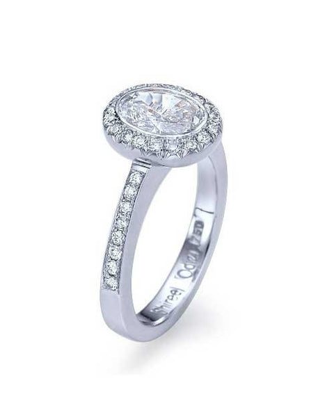 Engagement Rings Platinum Halo Setting Pre-set Art Deco Diamond Ring with 1ct Oval