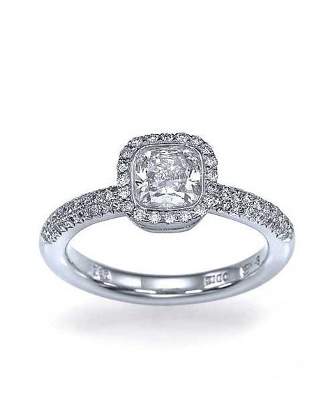Engagement Rings Platinum Halo Snowflake Cushion Cut Engagement Ring Pre-Set with 1ct Diamond