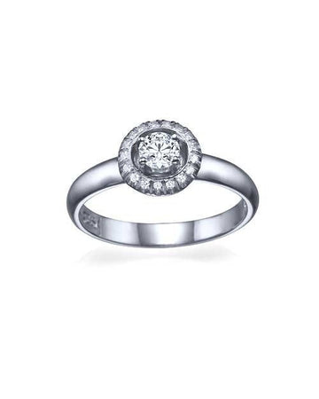 Engagement Rings Platinum Halo Surrounding Round Cut Engagement Ring - 0.3ct Diamond
