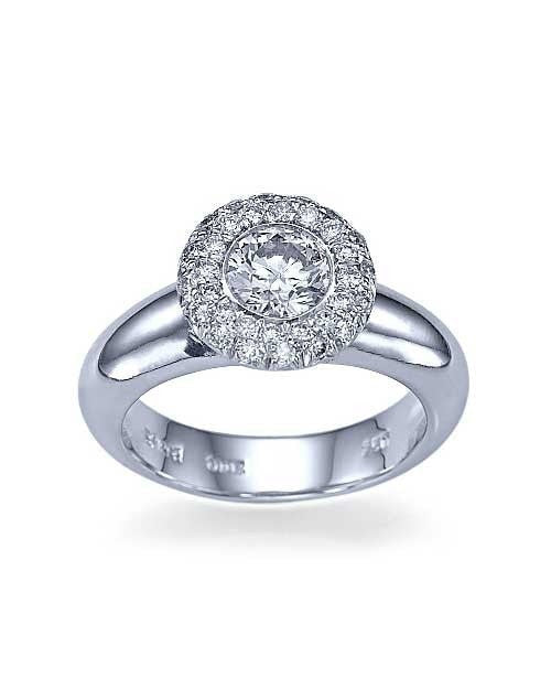 Platinum Halo Wide Band Unusual Engagement Rings - 0.75ct Diamond - Custom Made