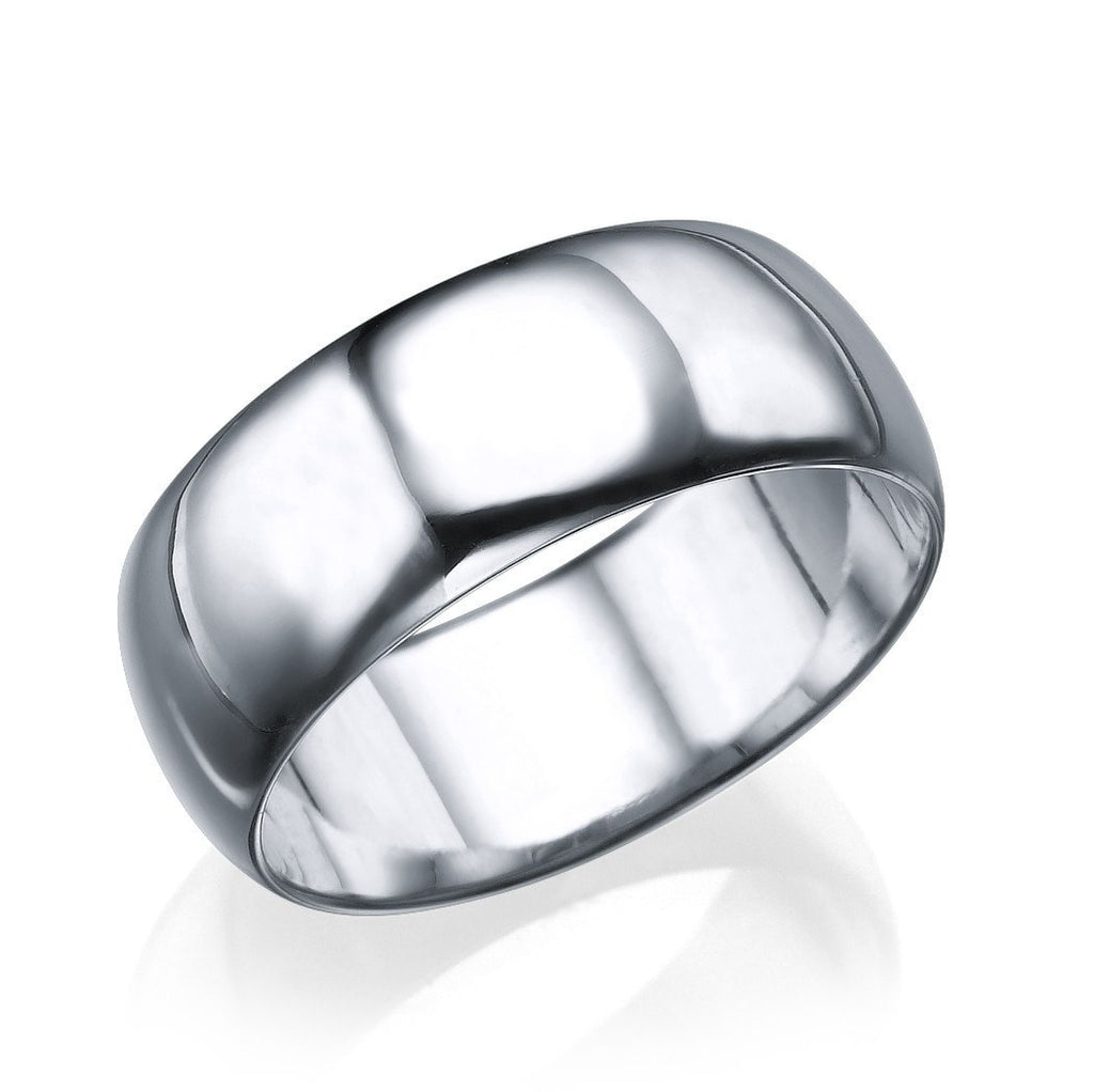 Wedding Rings Platinum Men's Wedding Ring - 7.7mm Rounded Plain Band