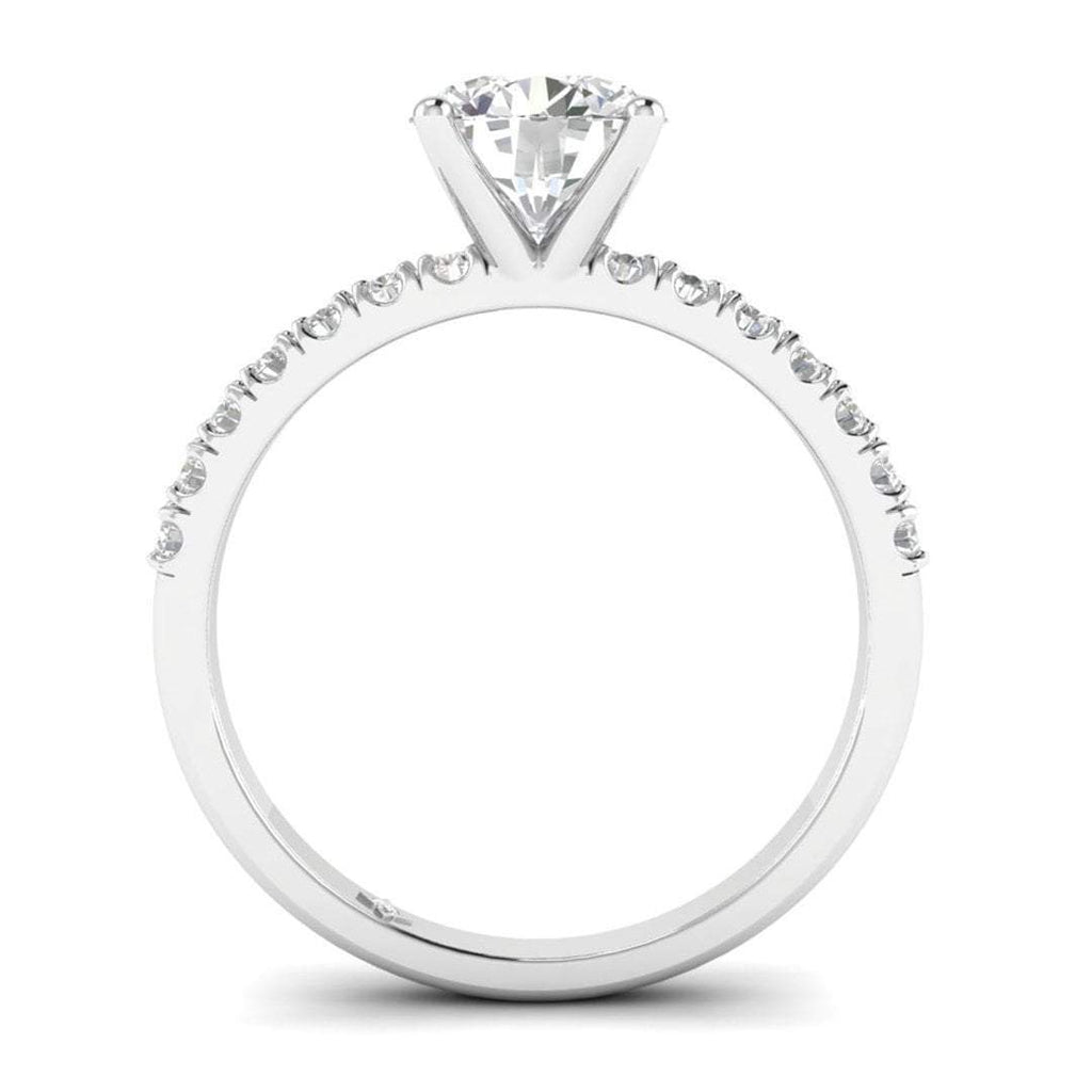 Platinum Micro Pave 4-Prong Modern Round Diamond Engagement Ring - 1.00 carat D/SI1 100% Natural - Custom Made
