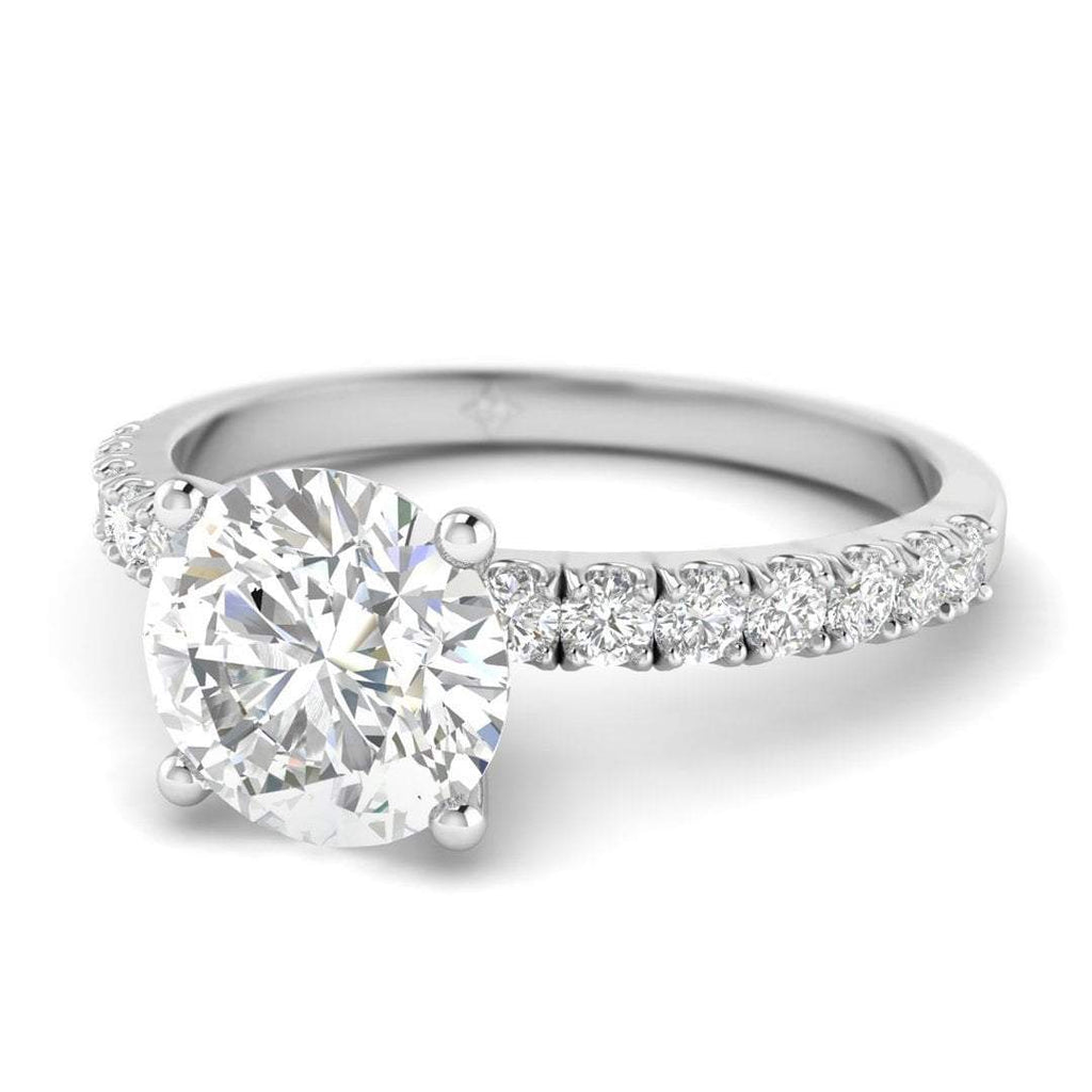 Platinum Micro Pave 4-Prong Modern Round Diamond Engagement Ring - 2.00 carat D/SI1 100% Natural - Custom Made