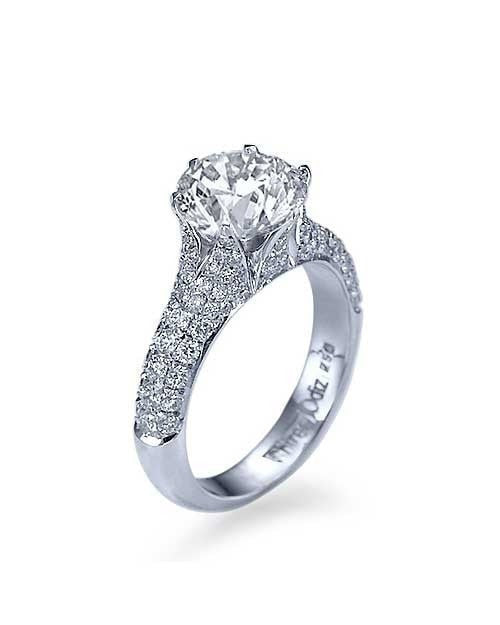 Engagement Rings Platinum Pave Round Cut Engagement Rings - 2ct D/SI2 Preset Diamond