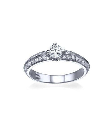 Engagement Rings Platinum Pave Set Knife Edge Solitaire Engagement Ring - 0.3ct Diamond