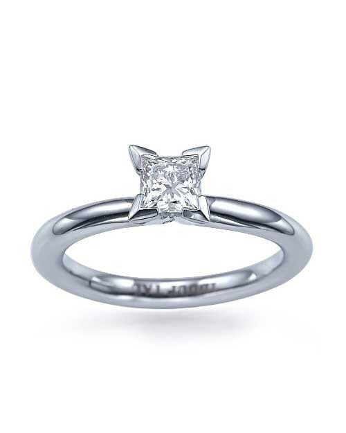 Platinum Princess Cut 4-Prong Solitaire Engagement Ring - 1ct Diamond - Custom Made