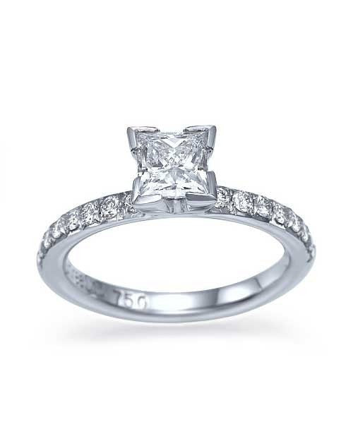 Platinum Princess Cut Engagement Ring 4 Prong Solitaire - 0.75ct Diamond - Custom Made