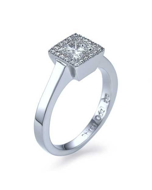 Platinum Princess Cut Halo Engagement Ring Bezel Set Diamonds - 1ct Diamond - Custom Made
