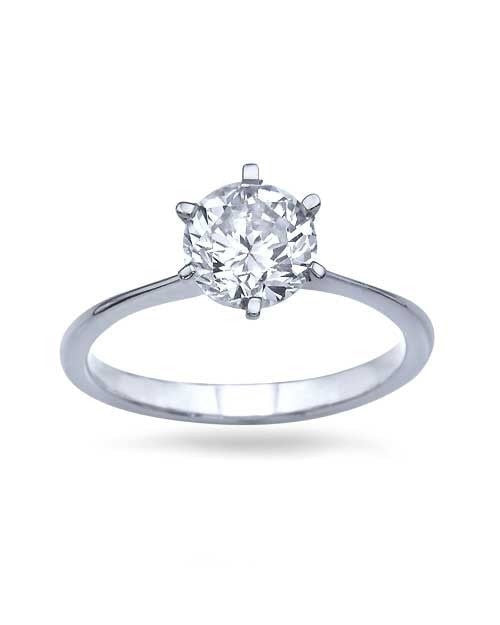 Platinum Round Cut Engagement Ring - Classic  - 1ct Diamond - Custom Made