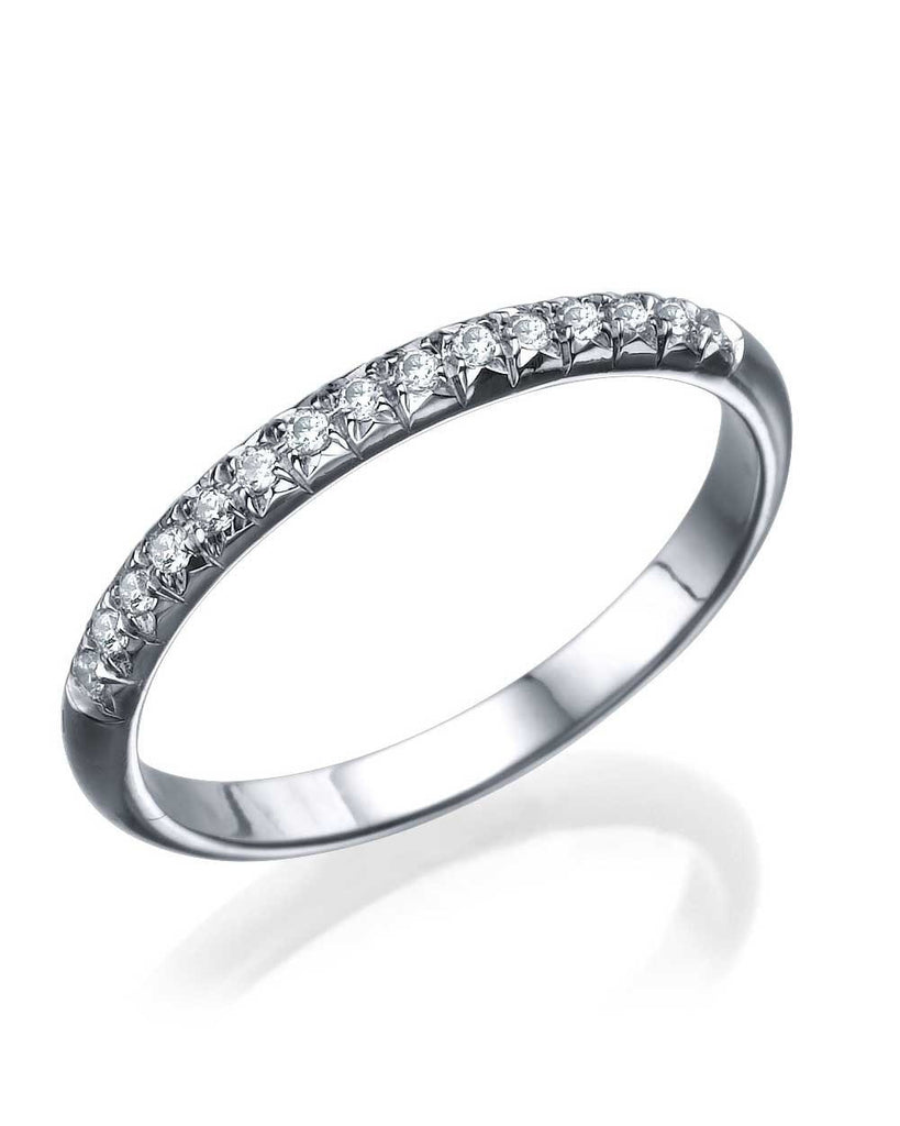 Platinum Rounded Wedding Band Ring - 0.15ct Diamond Semi-Eternity - Custom Made