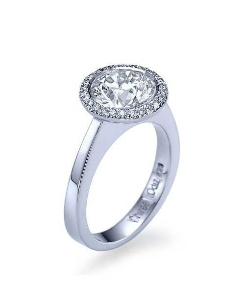 Engagement Rings Platinum Single Halo Round Bezel Set Semi Mount Diamond Ring