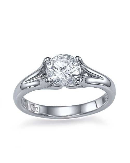 Platinum Split Shank Vintage Solitaire Engagement Ring - 0.75ct Diamond - Custom Made