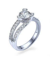 Engagement Rings Platinum Tension Set Diamond Solitaire Engagement Ring Pave Set Semi Mount Ring Settings