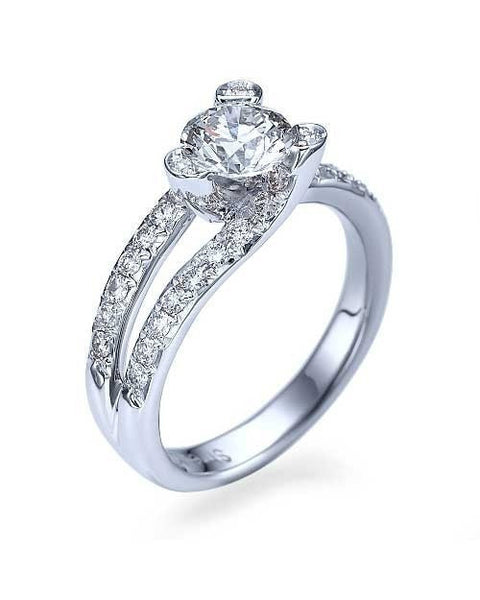 Engagement Rings Platinum Tension Set Solitaire Engagement Ring Pave Set - 1ct Diamond