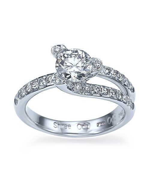 Platinum Tension Set Solitaire Engagement Ring Pave Set - 1ct Diamond - Custom Made