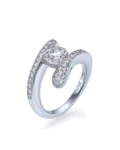 05ct Platinum er Tension Set Round Engagement Ring Pave Shiree Odiz