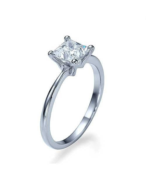Engagement Rings Platinum Thin 4-Prong Princess Cut Engagement Ring - 1ct Diamond