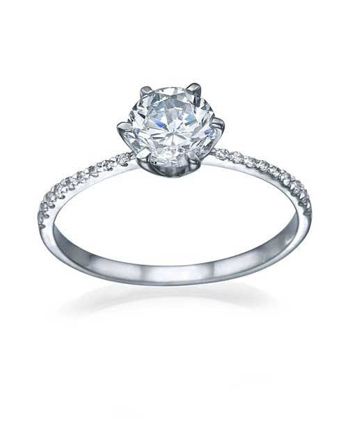 1ct Platinum Thin 6Prong Pave Set Round Solitaire Engagement Ring