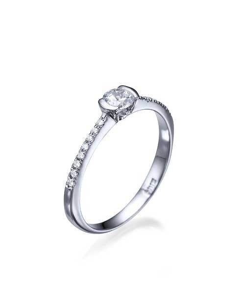 Platinum Thin Semi-Bezel French Pave Set Engagement Ring - 0.3ct Diamond - Custom Made
