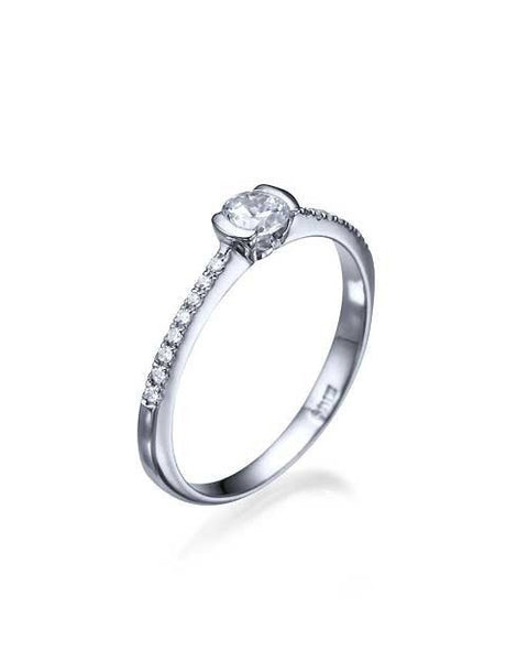 Engagement Rings Platinum Thin Semi-Bezel French Pave Set Engagement Ring - 0.3ct Diamond