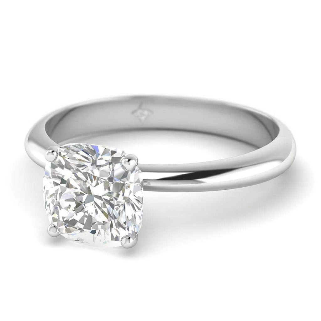 0.90 carat D/SI1 Platinum Cushion Diamond Engagement Ring Timeless 4-Prong Tapered - Custom Made