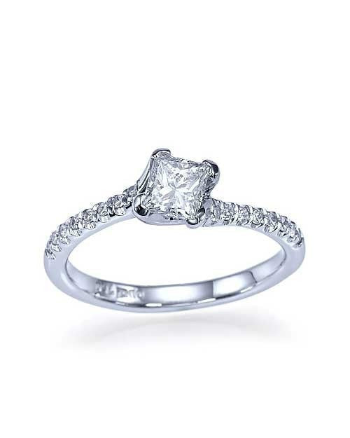 Platinum Twisted Italian Princess Cut Engagement Ring - 0.75ct Diamond - Custom Made