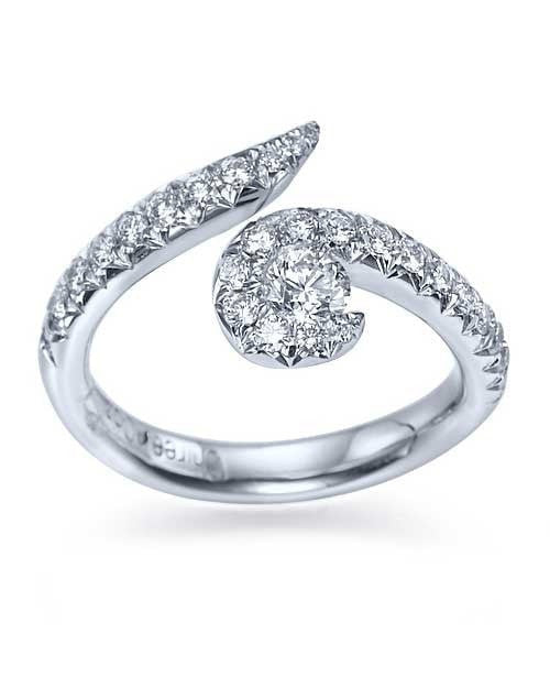 Platinum Twisted Spiral Avant Garde Engagement Ring - 0.2ct Diamond - Custom Made