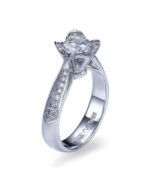 Platinum Unique Flower Engagement Ring - 1ct Diamond - Custom Made