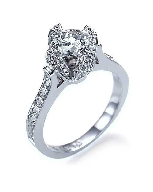 Platinum Unique Flower Pave Design Semi Mount Unusual Diamond Rings