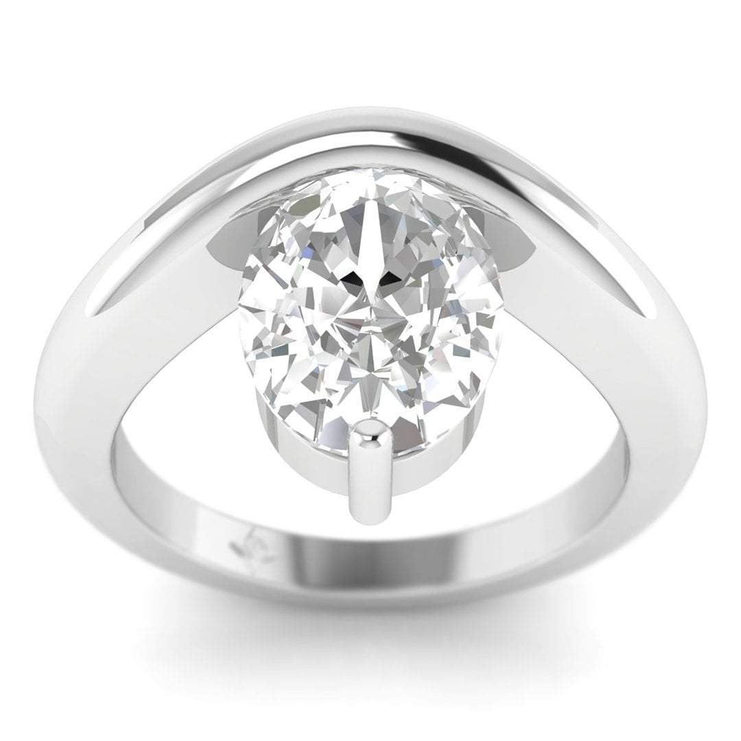54bd42133918b Details about Platinum Unusual Floating Designer Oval Diamond Engagement  Ring - 1.00 ct D/SI1