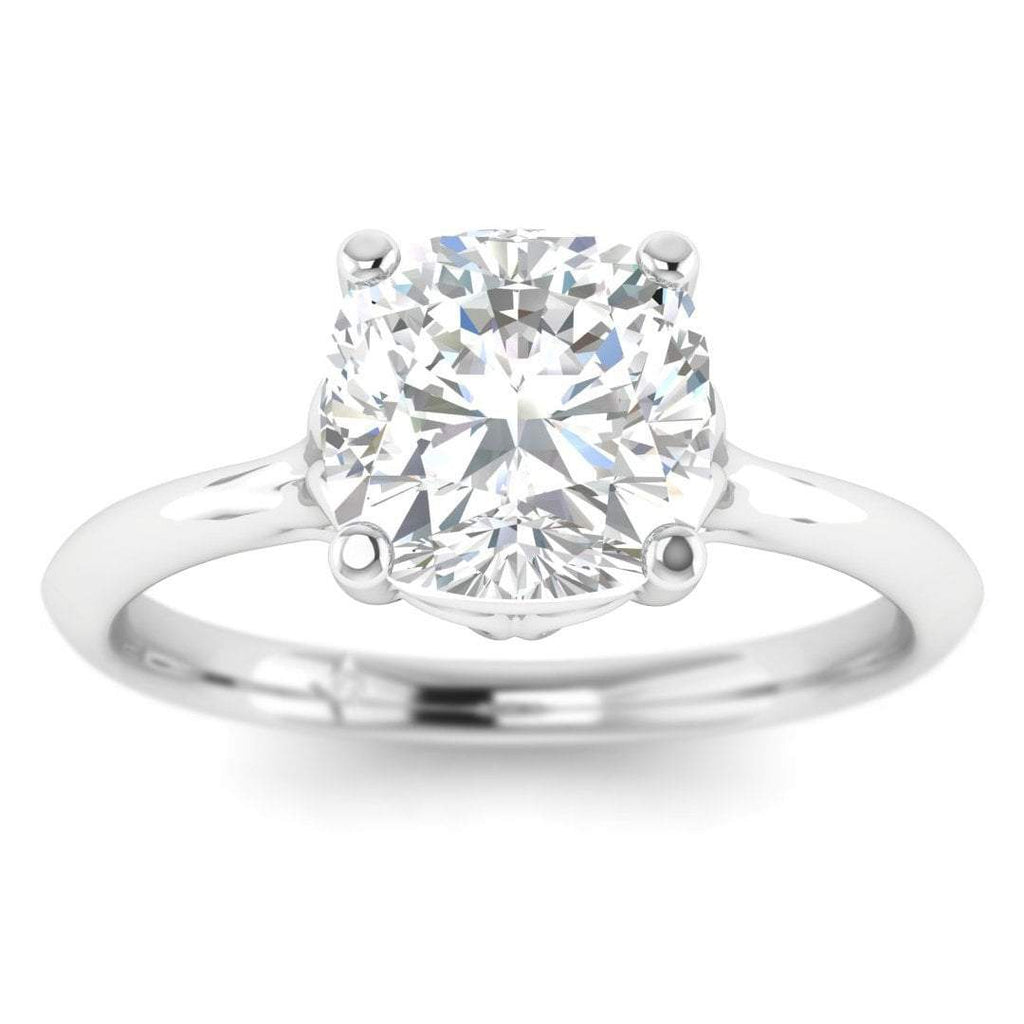 1.75 carat D/SI1 Platinum Cushion Diamond Engagement Ring Vintage Antique-Style Cathedral - Custom Made