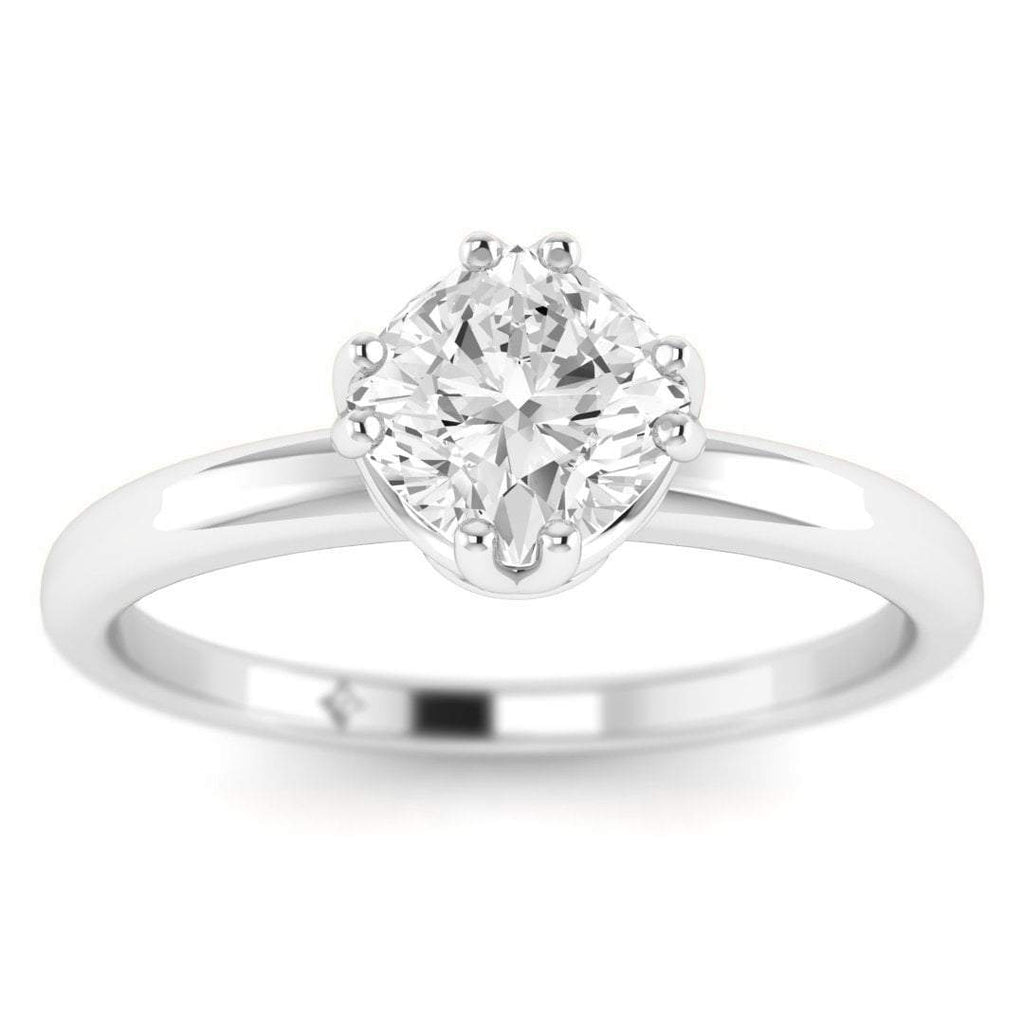 Platinum Vintage Antique-Style Cushion Diamond Engagement Ring - Custom Made