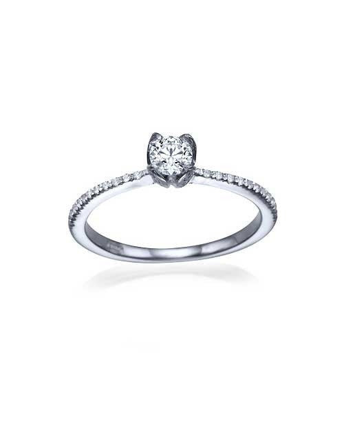 Platinum Vintage Flower Pave Set Round Cut Engagement Ring - 0.3ct Diamond - Custom Made