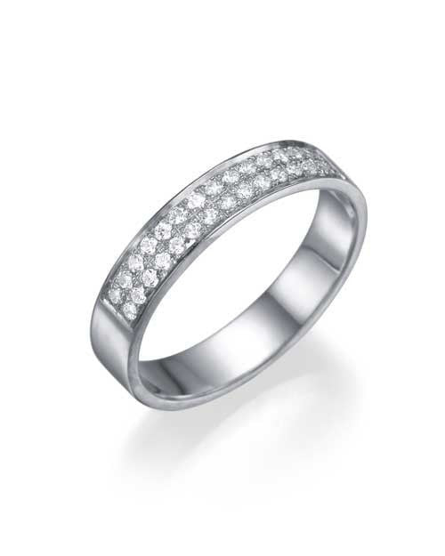 Platinum Wedding Ring - 0.24ct Diamond Semi-Eternity Band - Custom Made