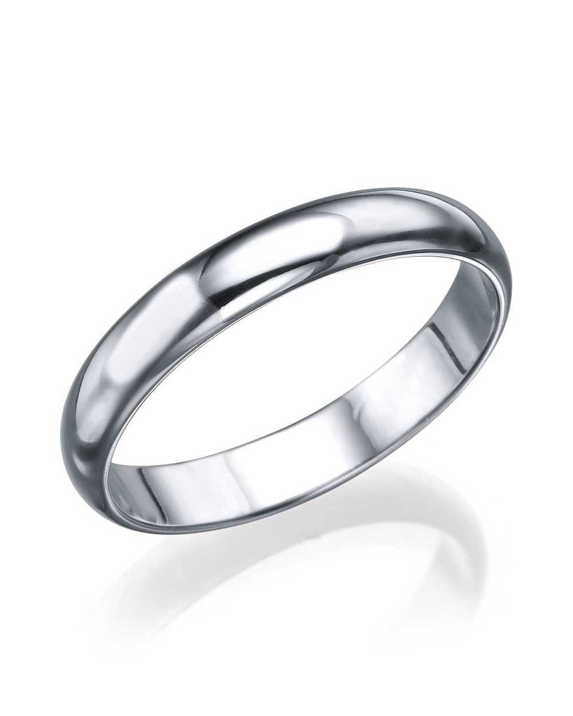 Platinum Wedding Ring - 3.6mm Plain Rounded Band - Custom Made
